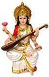 "Krishna Culture Sarasvati Statue 5.75"" Hindu Goddess of Learning Figurine Idol Golu Doll"