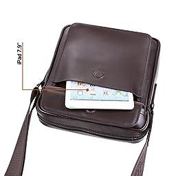 Zicac Mens Genuine Leather Shoulder Messenger Bag - Brown