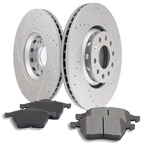 Audi A6 Quattro Front Rotors - SCITOO Brake Parts, Front Slotted Drilled Discs Brake Rotors and Ceramic Disc Brake Pads Brake Kit fit Audi A4 Audi A4 Quattro Audi A6 Audi A6 Quattro Compatible with 120.33050 34215 308.08400 EHT840