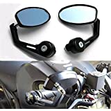 "BADASS SHARKS Black Flexible Motorcycle Oval Rear View Back Mirror Handle Bar End 7/8"" Mirror Oval Fits Most For Suzuki Honda Kawasaki Cruisers"