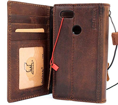 Genuine Leather Case for Google Pixel 3 Book Wallet Handmade Vintage Cover Luxury Retro Cards Slots Holder Stand Slim Classic Brown DavisCase
