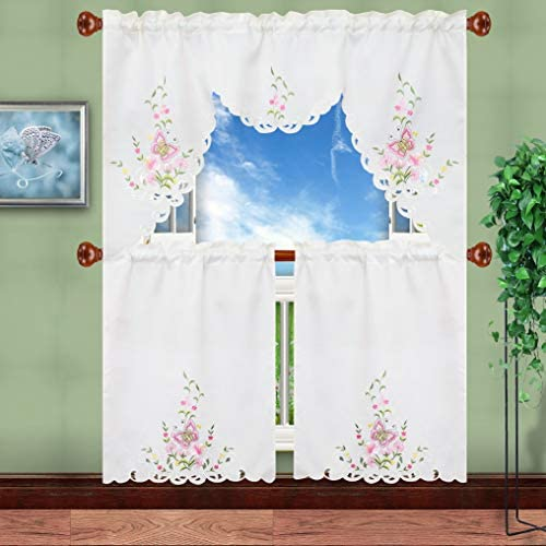 Simhomsen Embroidered Butterfly Kitchen Curtain Swag and Tiers Set for Spring and Summer, Window Treatment, Decorations Pink