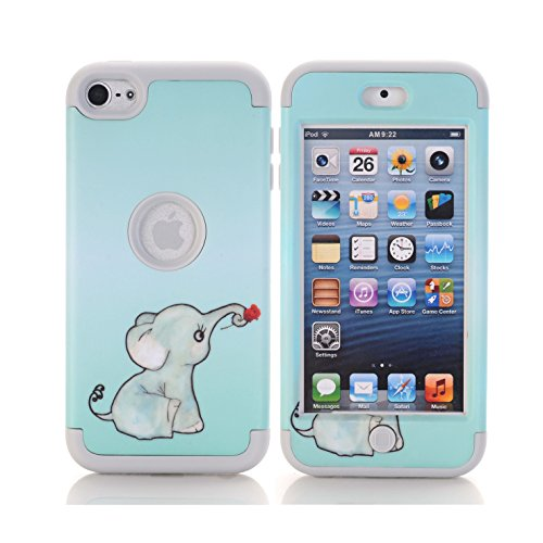 SINYONG Case Compatible with iPod Touch 6th Generation iPod touch 5 Case Hybrid Shockproof Full body Armor Defender Protective Case Cover for iPod touch 5/ iPod touch 6 - Elephant+Grey (Good Games For Ipod Touch 2nd Gen)