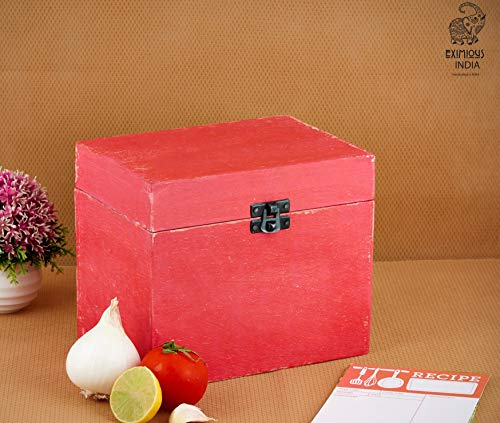 Eximious India Wooden Recipe Card Box Family Recipe Organizer Storage Box Fits 4 x 6 inch Recipe Cards, Red