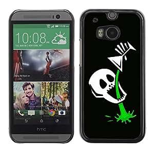 Paccase / SLIM PC / Aliminium Casa Carcasa Funda Case Cover para - Funny Skull Skeleton Martini - HTC One M8