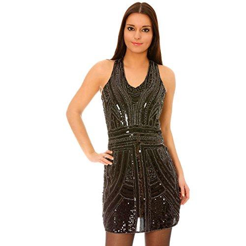 Miss Wear Line - Robe de soirée courte noire à ornements strass et paillettes