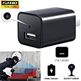 Mini Charger Camera, Heymoko HD 1080P Motion Detection USB Wall Charger Camera Plug Camera Loop Recording Nanny Cam Support to 32GB Storage