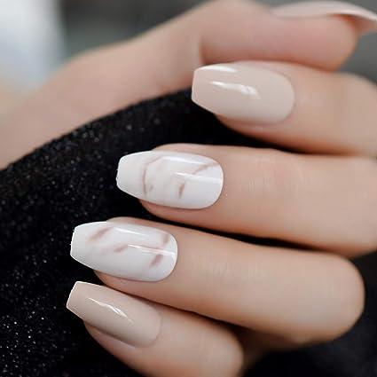 EchiQ 24 piezas de uñas falsas de bailarina caqui nude mármol de ...