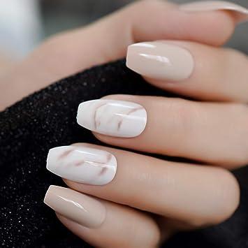 EchiQ 24 piezas de uñas falsas de bailarina caqui nude ...