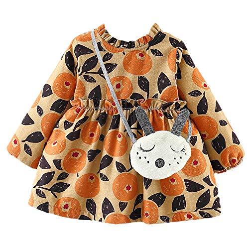 Toddler Baby Girls 0-24 Months Clothes Long Sleeves Fruits Leaf Print Lace Princess Dress+Bag Sets ()