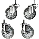 """4"""" Rack Casters - Non-marking Poly Wheel - 3/8"""" x 1"""" Threaded Stem Fits Honey Can Do - Set of 4"""