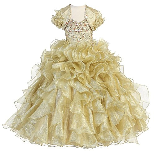 Calla Collection Little Girls Gold Metallic Shine Ruffled Pageant Dress 6 by Calla Collection USA