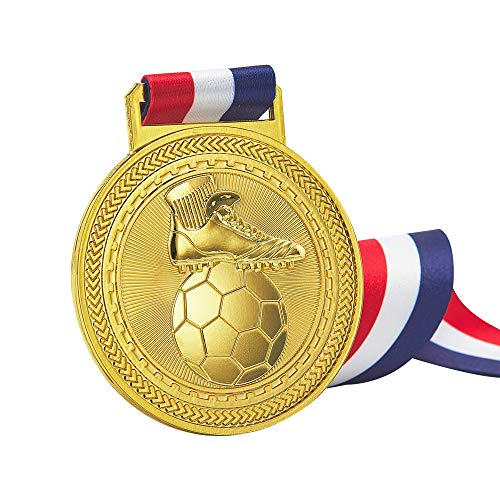 SoccerMedals, Gold Silver Bronze Medals for Football, Well-Crafted SoccerAwardMedals Set, FootballMedalswithRibbons for Youth, Antique Finish Shiny Design