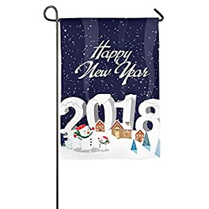 Bandera decorativa de poliéster con diseño de muñeco de nieve para interiores y exteriores, de la marca Happy New Year 2018, 30,5 cm, 45,7 cm