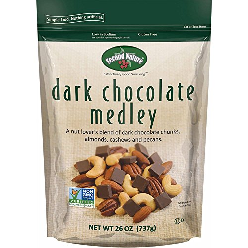 Tart Dark Chocolate (Second Nature Dark Chocolate Medley Trail Mix 26 oz Resealable Pouch - A Nut Lover's Blend of Dark Chocolate Chunks, Almonds, Cashews and Pecans - Non GMO Project Verified)