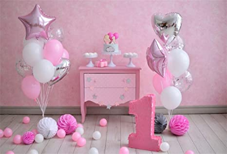 YongFoto 2,2x1,5m Fondo de Fotografia Primer cumpleaños Globos Blancos Color Rosa Gran Numero uno Piso Madera Pared Rosa Decoración un año Telón de ...