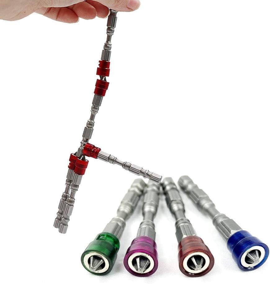 Set Drill magn/étique Embouts de Tournevis S2 en Acier Cross t/ête Groupe vis Tournevis Pilote Kit Outils /à Main Tournevis 65mm Color : Purple NO LOGO ZDX-LSDZT 5Pcs