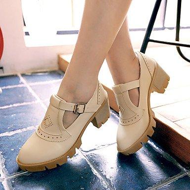 Zapatos de tacones de las mujeres Primavera Verano Otoño Invierno Comfort cuero sintético oficina y carrera Fiesta y Noche Casual hebilla de tacón grueso Negro Rosa Beige Beige