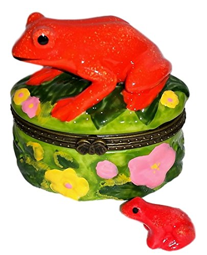 (Tropical Bright Red Tree Frog 2pc Porcelain Hinged Trinket Box)