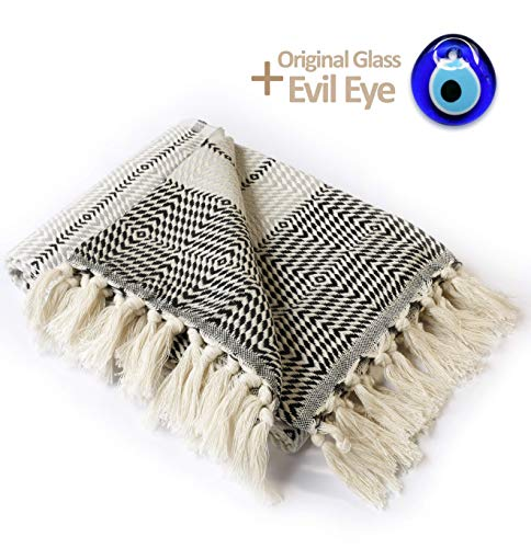 Luxury Throw Blanket with Fringe 100% Cotton |40