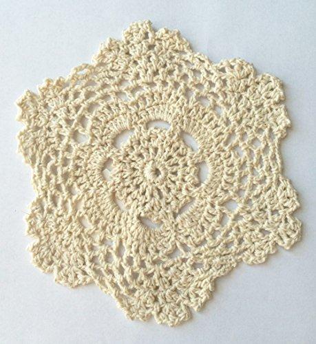 Fennco Styles Handmade Crochet Lace Cotton Doilies - 6-inch Round (12-pack, Beige)