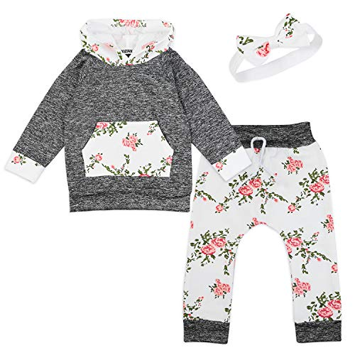 Baby Girl Flowers Hoodie Tops Shirt+Long Pants with Headband Pant Sets Kangaroo Pocket Outfits 2-3Y