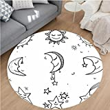 Nalahome Modern Flannel Microfiber Non-Slip Machine Washable Round Area Rug-and Drawn Image of Sun Moon Stars Emoji Kids Nursery Room Art Print Image Black and White area rugs Home Decor-Round 59''