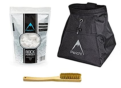Psychi Chalk Bouldering Bucket Stand Bag Starter Pack for Rock Climbing with Loose Chalk and Brush