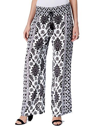 INC Womens Printed Flat Front Wide Leg Pants B/W XS