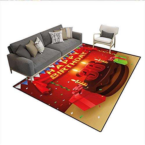 Versace Candle - Carpet,Celebration Party with Cake Candles and Presents Happy Birthday Print,Print Area Rug,Red and Burgundy 6'6