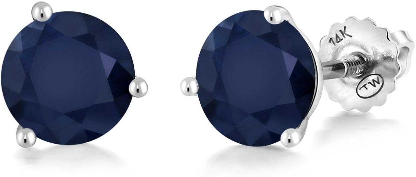 2 Ct Blue Sapphire 6mm Heart Stud Earrings White Gold Silver