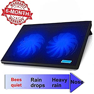 "ThreeLeaf T102 10-15.6"" Office Laptop Cooling Pad (Big 2Fans Super Quiet , Double Sides Built-in USB Line, Back Feet Stand)"