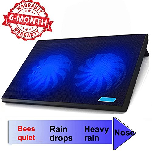 ThreeLeaf T102 10-15.6 Office Laptop Cooling Pad (Big 2Fans Super Quiet , Double Sides Built-in USB Line, Back Feet Stand)