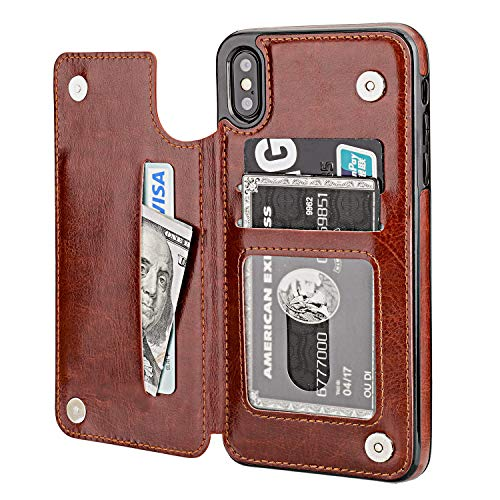 iPhone Xs Max Wallet Case with Card Holder,OT ONETOP Premium PU Leather Kickstand Card Slots Case,Double Magnetic Clasp and Durable Shockproof Cover 6.5 Inch(Brown)