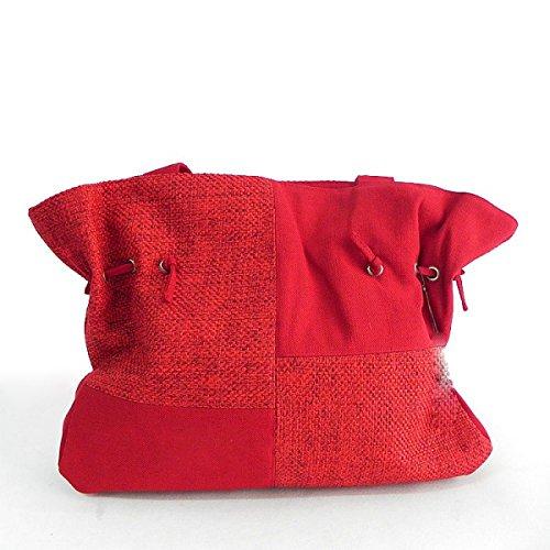 Europa y los Estados Unidos moda original pintado a mano lino bolsos bolsa de hombro portátil, negro rosso
