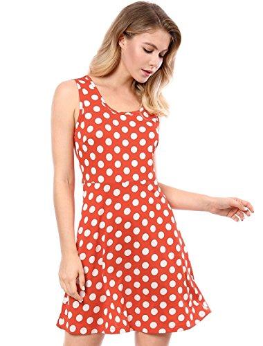 Allegra K Women's Polka Dot A-Line Above Knee Sleeveless Dress L Orange Red for $<!--$15.99-->