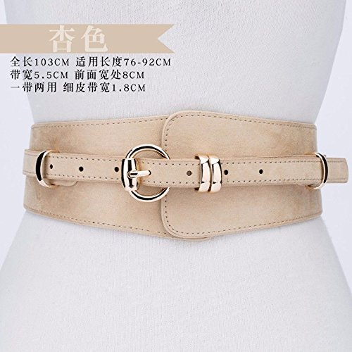 Female pin Girdle Dress Ladies Fashion New Version Belt Belt Style with Buckle The Suede Wide Decorative Blue white of ZCtqtYwEx