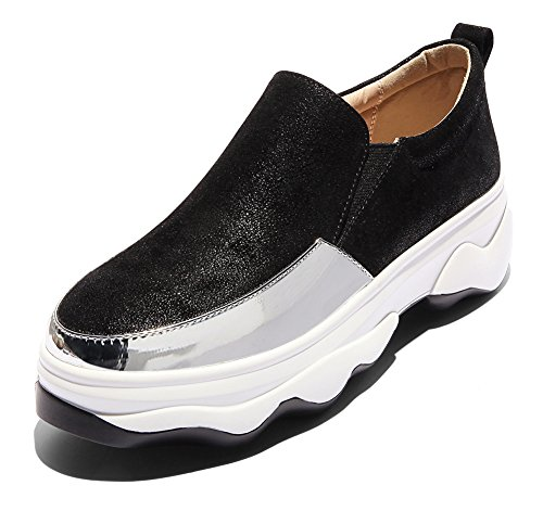 Femme Sport Respirant De Fermeture À Noir Baskets Enfiler Aisun Chaussures Uwq7Ud