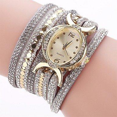 Bellos Relojes, las mujeres de diamantes de imitación PU banda de cuarzo reloj de pulsera