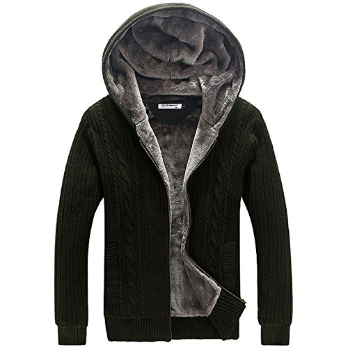 Also Easy Winter Autumn Mne's Sweater Thick Knitted Long Sleeves Hoode Cardigans Men Outwear Zipper Sweaters Army Green XL by Also Easy Sweater