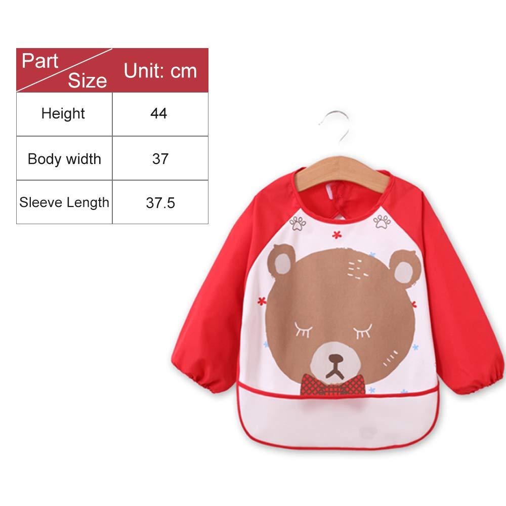 3 pezzi Bavaglini con maniche per bambini da 6 a 36 mesi impermeabili IWILCS