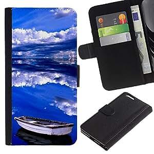 KLONGSHOP // Tirón de la caja Cartera de cuero con ranuras para tarjetas - Nubes Mar Verano Tormenta Azul - Apple Iphone 6 PLUS 5.5 //