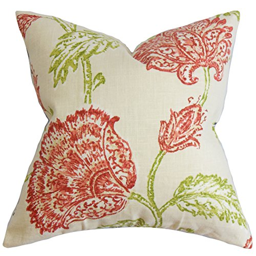 The Pillow Collection Behati Floral Pillow, Natural Pink ()