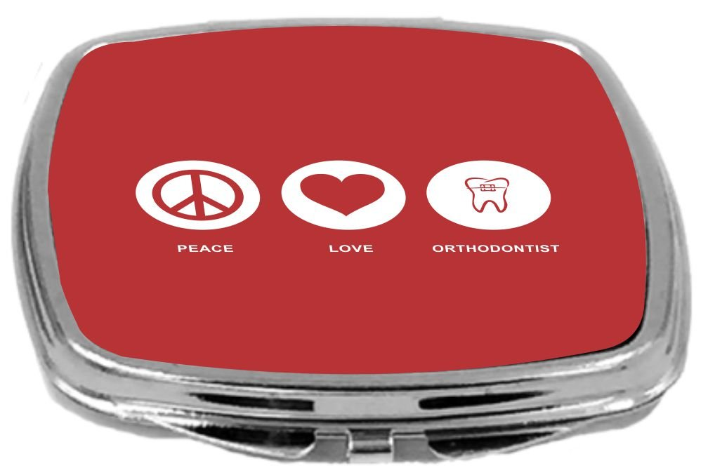 Rikki Knight Peace Love Orthodontist Design Compact Mirror, Red, 2 Ounce
