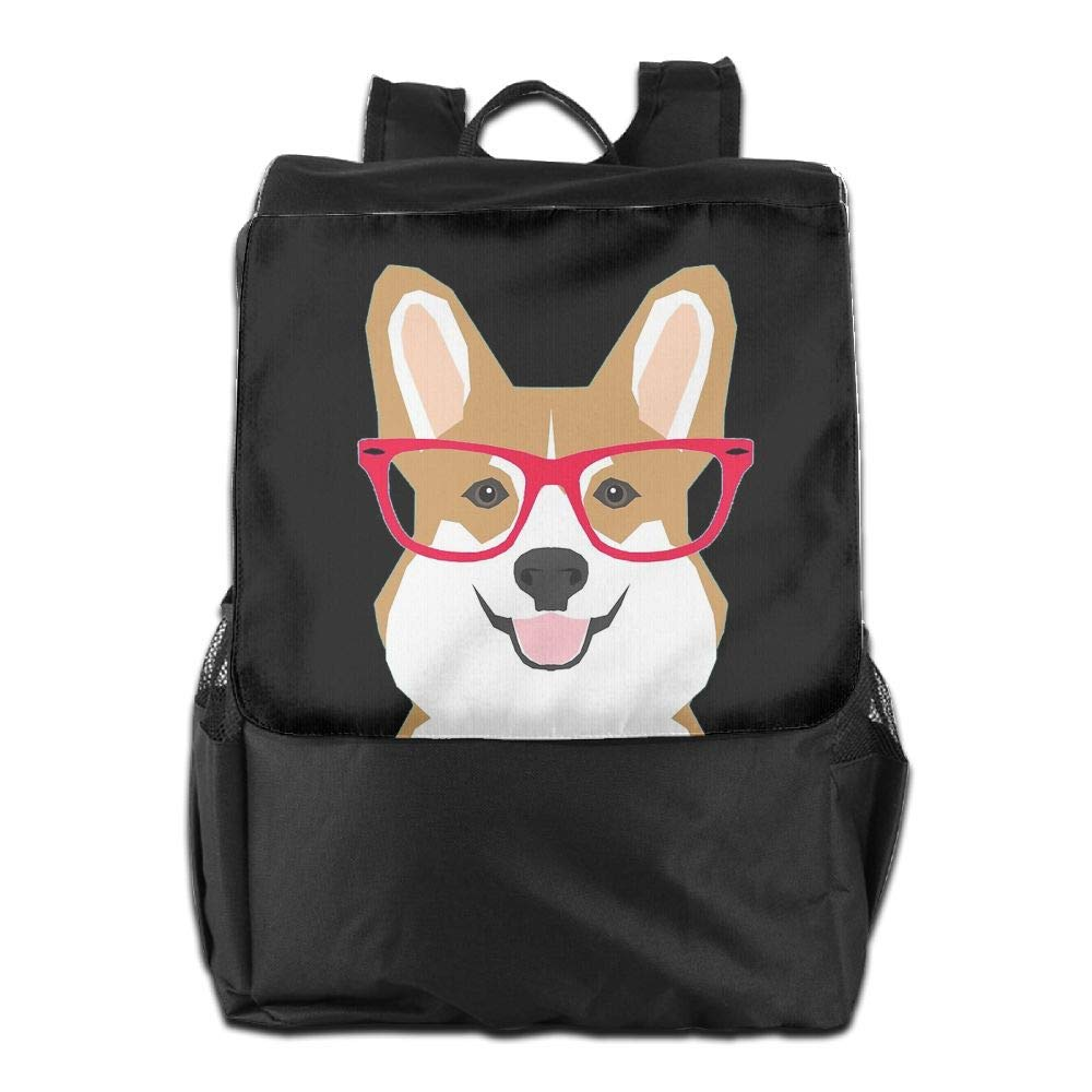 Louise Morrison Cute Corgi With A Red Glass Women Men Laptop Casual Business Travel Backpack College School Bookbag