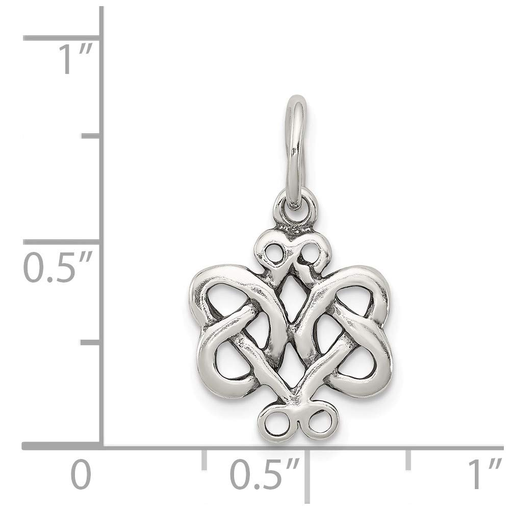 925 Sterling Silver Antiqued Scroll Celtic Knot Charm