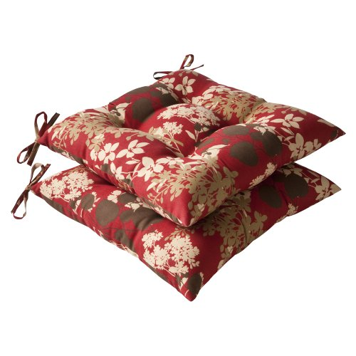 Pillow Perfect Indoor/Outdoor Floral Tufted Seat Cushion, Red/Brown