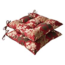 Pillow Perfect Indoor/Outdoor Red/Brown Floral Tufted Seat Cushion, 2-Pack
