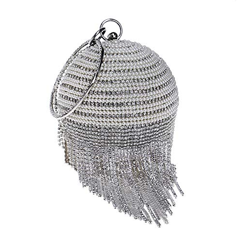 Bag Bracelet Crystal Diamond Rhinestone Wedding Ground Shape Hand Handbag Ball Clutch Beads Women's Tassel Crossbody silver Evening qSxXZwf5X
