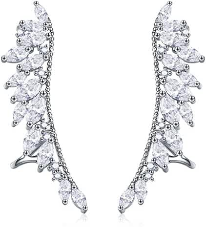 EVER SHINE Angel Wings CZ Crystal Ear Cuff Vines Climbers Crawlers Clip On Earrings